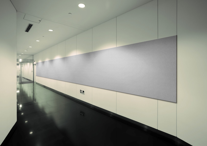 photo of commercial office hallway with 3 series fabric covered sectional acoustic wall panel (Large)
