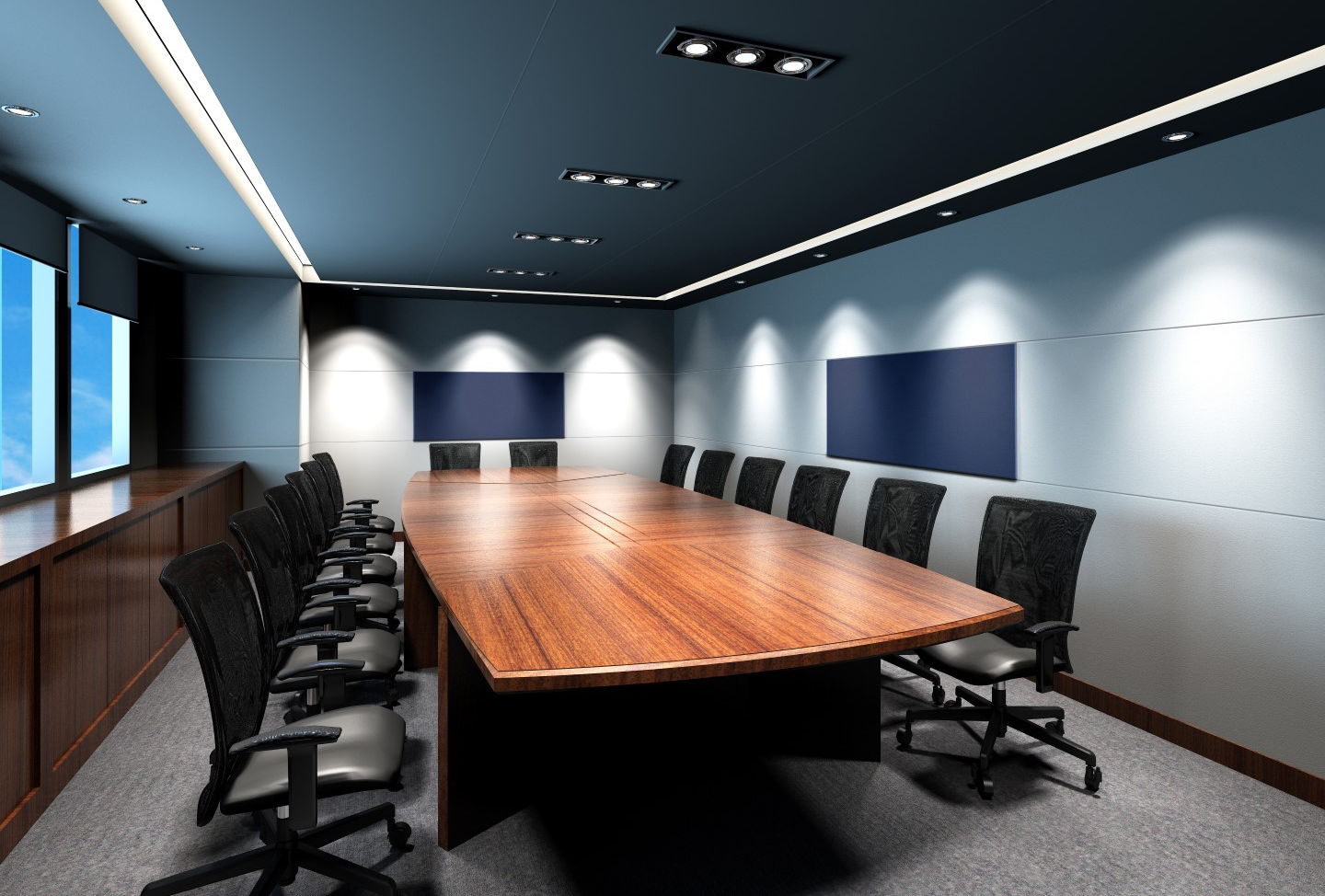 photo of high end commercial conference room with triple band acoustic fabric wall finishing on walls and ceiling with inset graphic and bulletin board panels (Large)